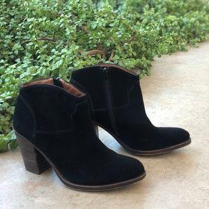Lucky Brand Black Suede Block Heel Booties Boots